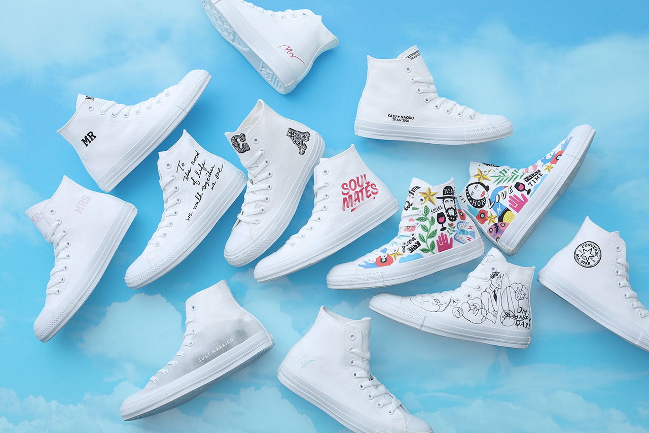 Converse Japan Chuck Taylor All Star Hi White Atelier Wedding Sneaker Customization Service Footwear Sneaker Drops Artwork Release Information Closer Look Ifuku Kazuhiko Tetsuhei Ando WALNUT Natsu Rose