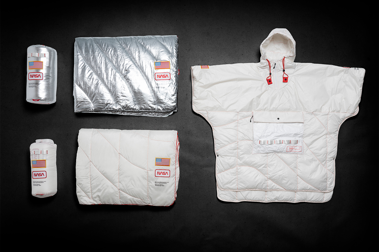 Rumpl NASA NanoLoft Puffy Poncho Release Tyvek ripstop Apollo 13 Space travel expedition  outerwear jackets cozy