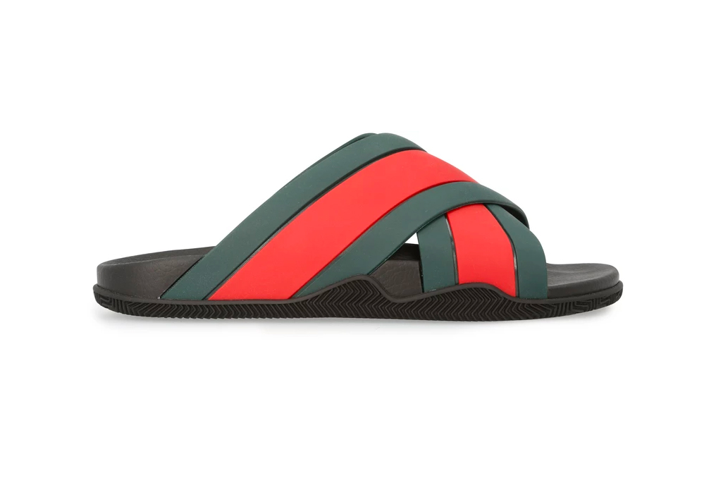 Gucci Red Green Rubber Webbing Sandals