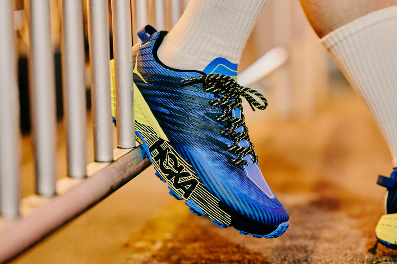 hoka one one speedgoat 4 stinson atr 6 tokyo neon trail running shoes black iris evening primrose blue yellow vibram official release date info photos price store list buying guide