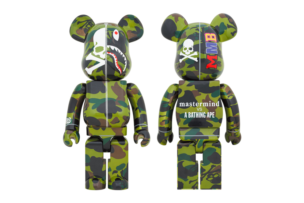 mastermind JAPAN BAPE 1000 Percent Green Camo Bearbrick Medicom Toy figures toys accessories mmb camouflage