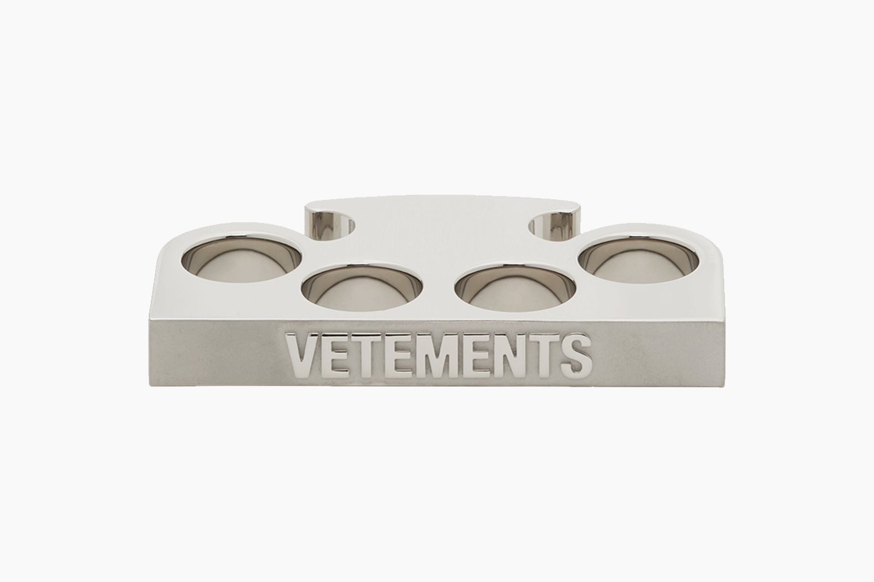 VETEMENTS Silver Logo Knuckle Ring