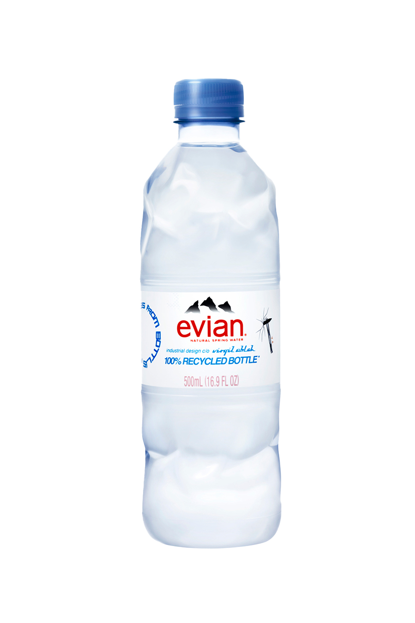 virgil abloh off white louis vuitton evian recycled plastic water bottle details release information first look