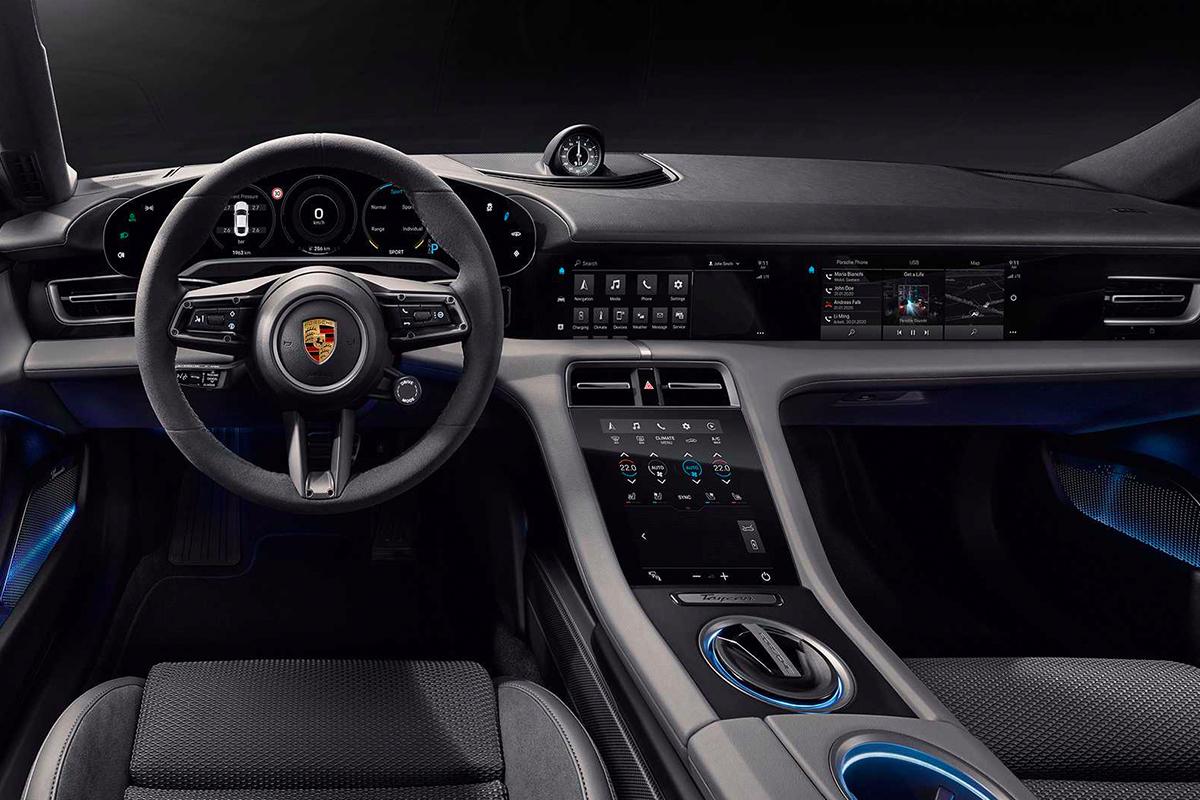 全屏幕座舱-Porsche 揭示全新纯电跑车 Taycan 的内装图片