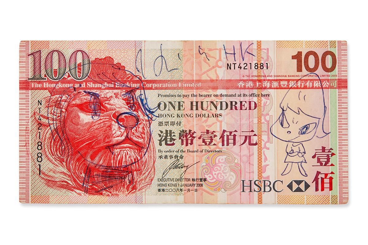 奈良美智手绘 $100 香港钞票以数千倍价值成交