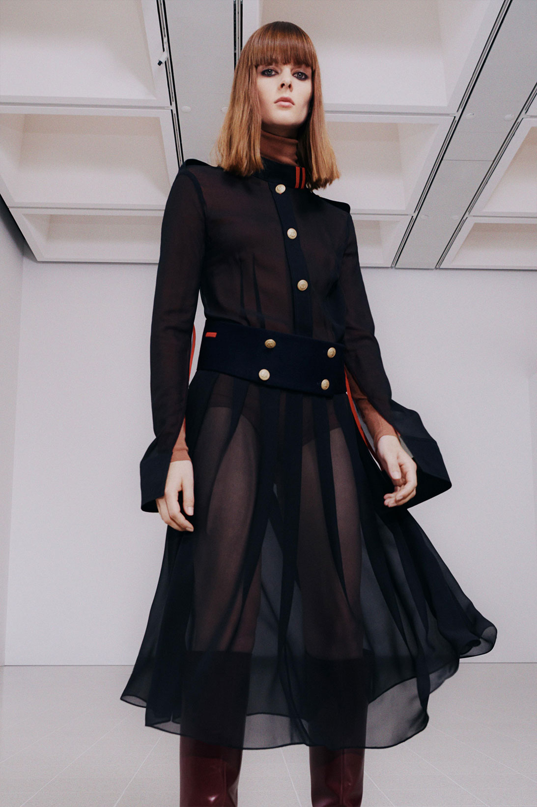victoria beckham fall winter 2021 fw21 collection black chiffon dress skirt